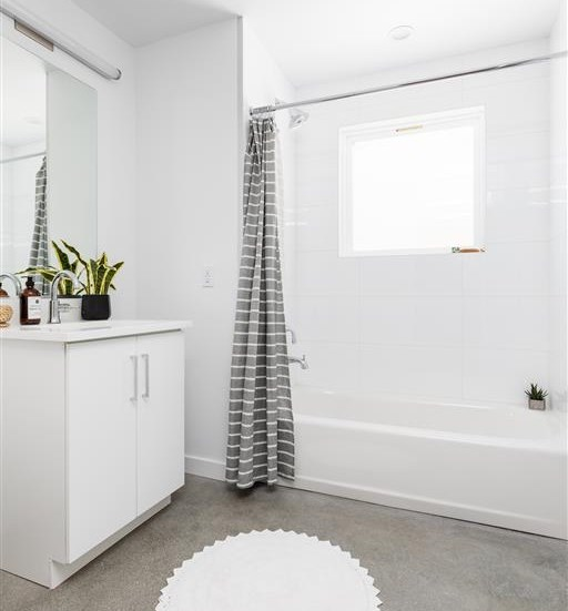Sleek bright lighting in the bathroom for a fresh look at The Perch, California, 90065