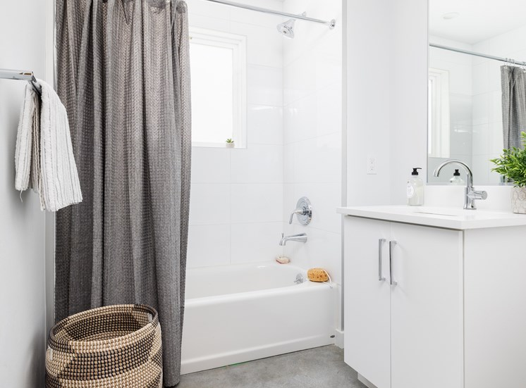 Bathroom view with simple fresh decor!