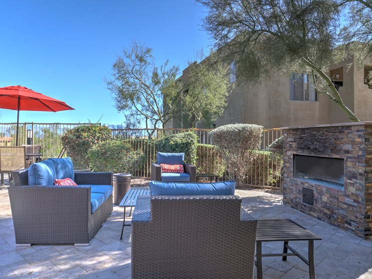 Community Outdoor Fireplace at Ridge View Apartments in Fountain Hills, AZ