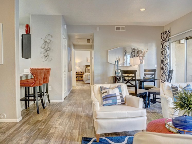 Living Room & Dining Area at Ridge View Apartments in Fountain Hills, AZ