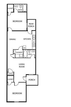 2 Bed 2 Bath Floor Plan 2