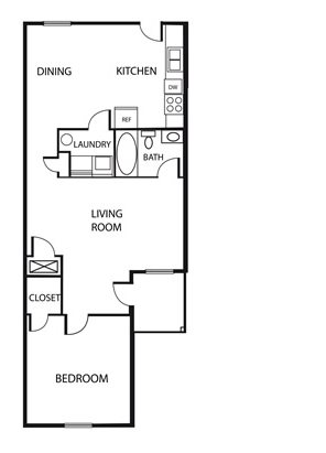 1 Bed 1 Bath Floor Plan 1