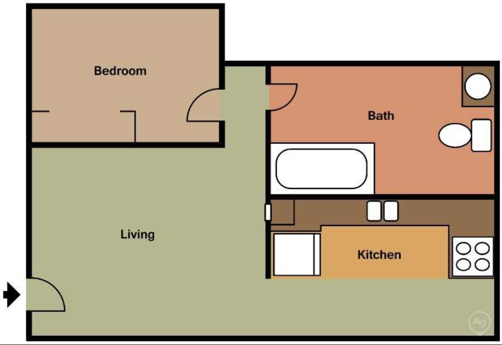 One Bedroom, One Bath (Ap) Floor Plan 1