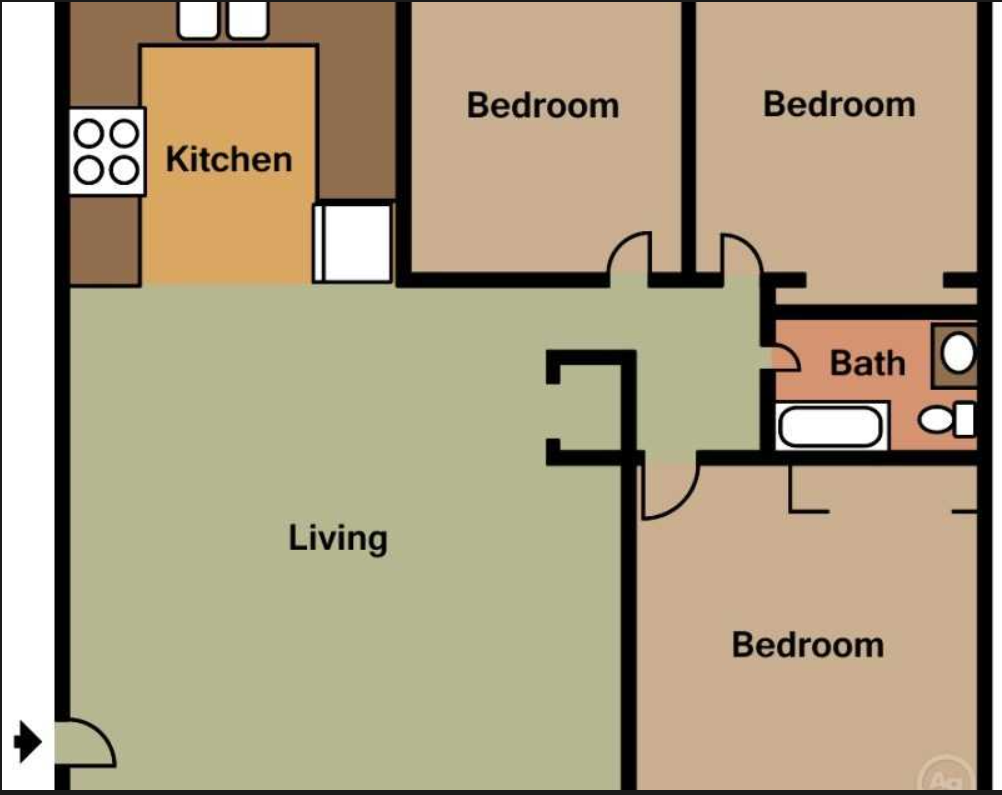 Three Bedroom, One Bath (D) Floor Plan 3