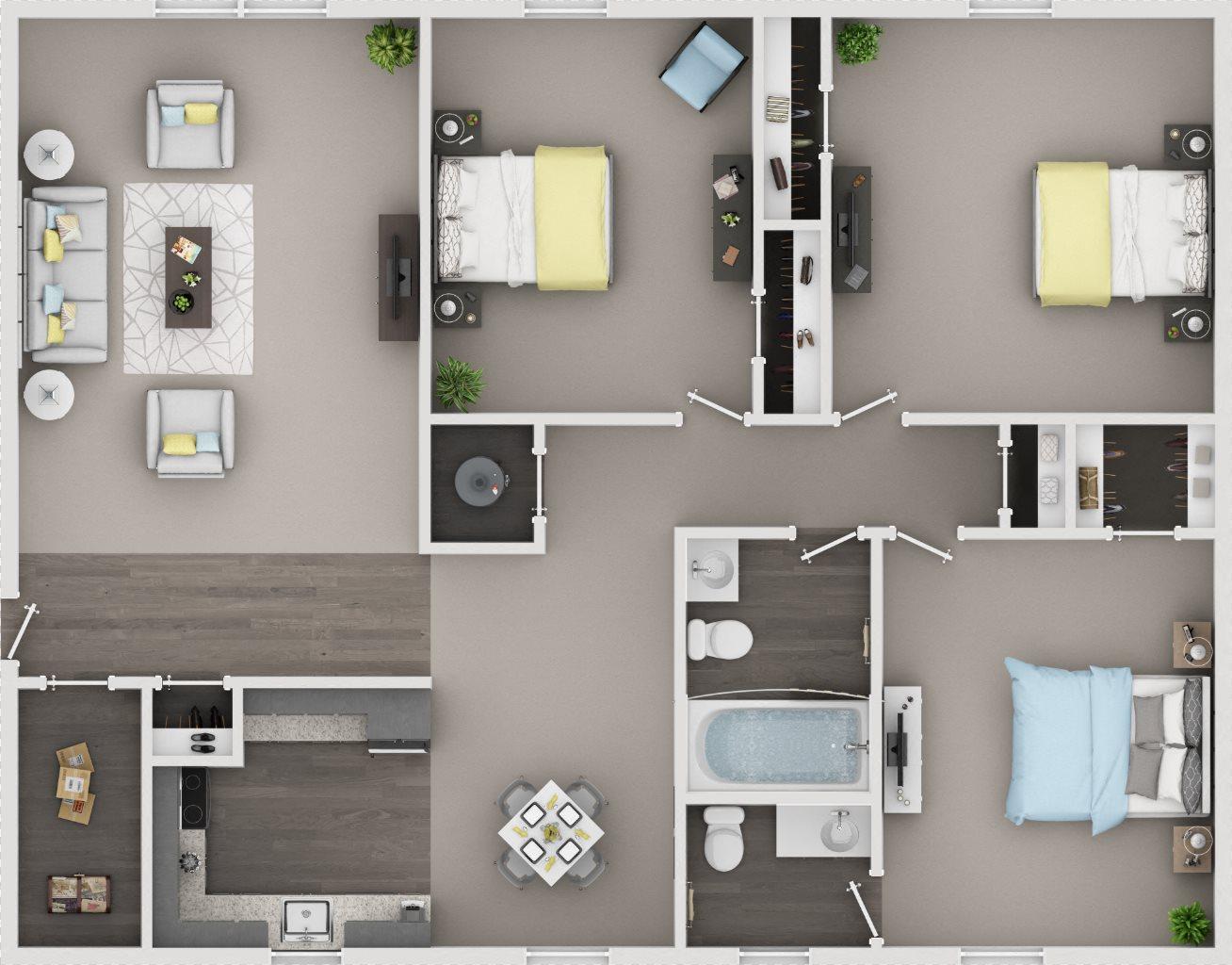 3 Bedroom / 1.5 Bath Floor Plan 4