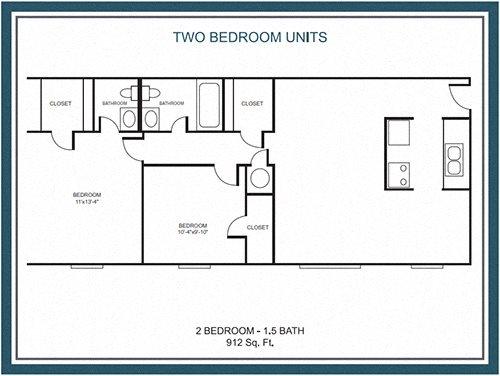 2 Bedroom / 1.5 Bath Floor Plan 2
