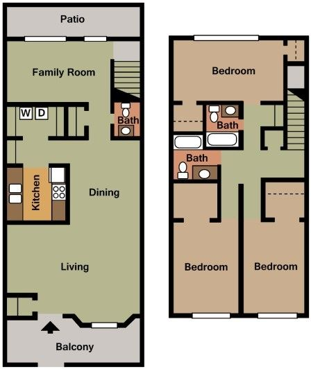 THREE BEDROOM, TWO AND HALF BATH (DTH)