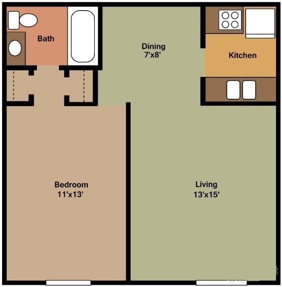 ONE BEDROOM, ONE BATH (A)