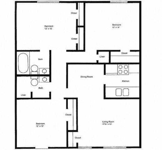 THREE BEDROOM, TWO BATH (D)