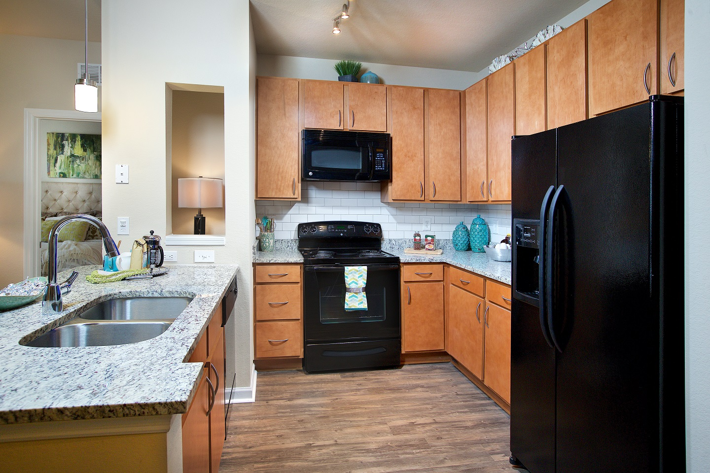 Kitchen cabinets and appliances at Century Deerwood Park