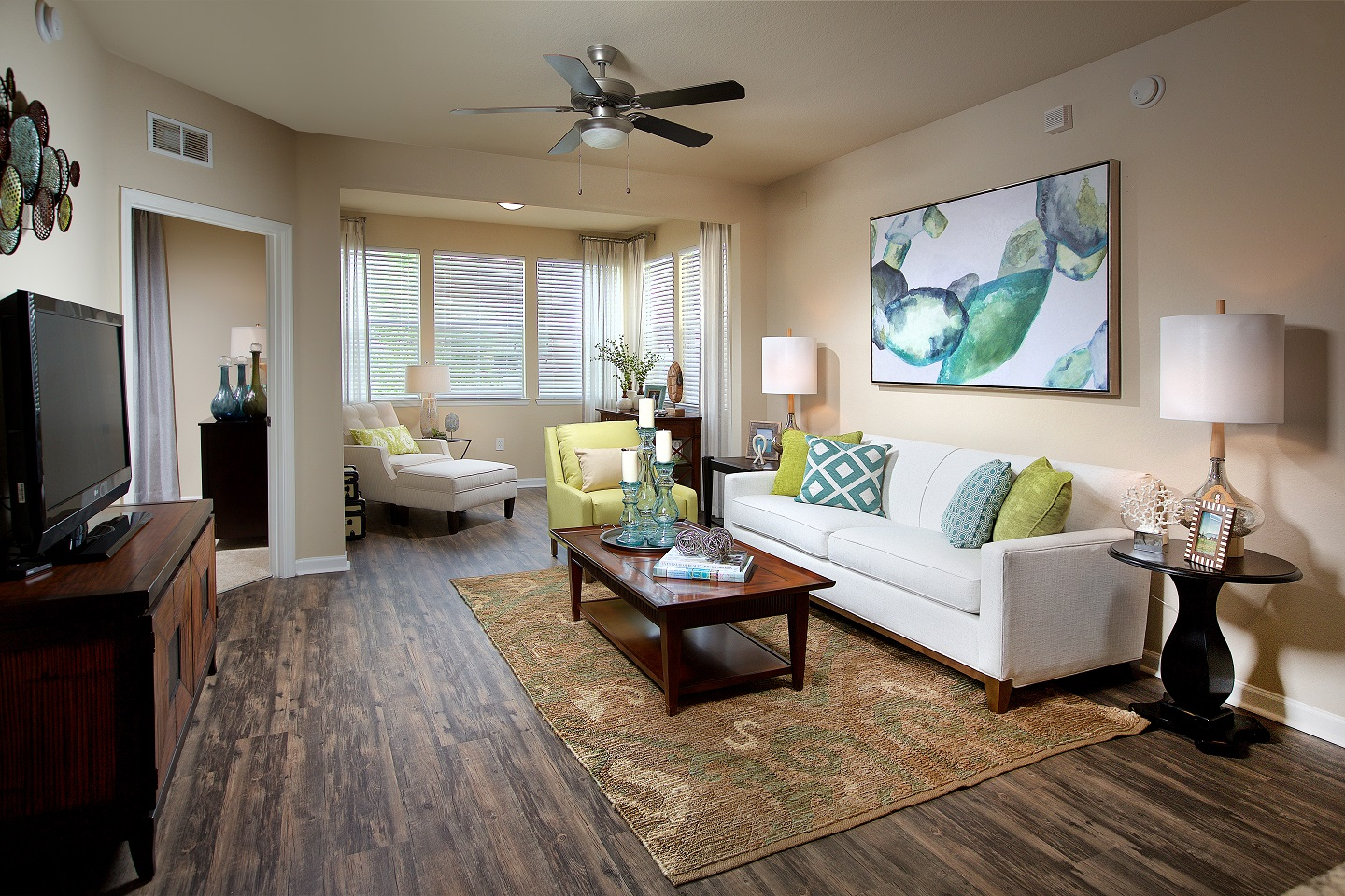 Spacious and cozy living room at Century Deerwood Park