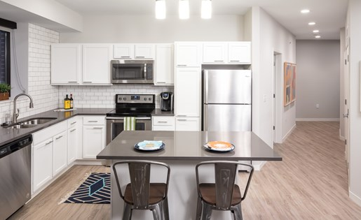 Kitchen at Confluence on 3rd Apartments in Downtown Des Moines