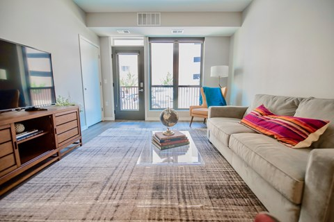 Living Room in Confluence on 3rd Apartments in Downtown Des Moines