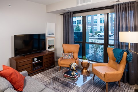 Living Room at Confluence on 3rd Apartments in Downtown Des Moines