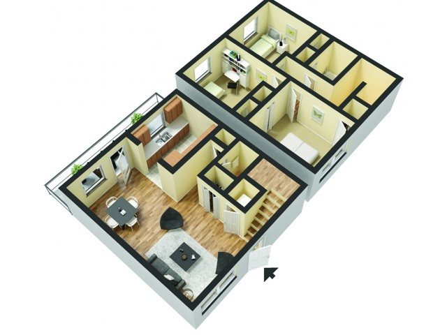3 Bedroom 2 Bath Floor Plan 3