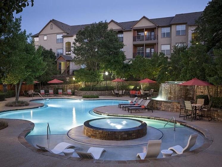 resort style pool at dusk
