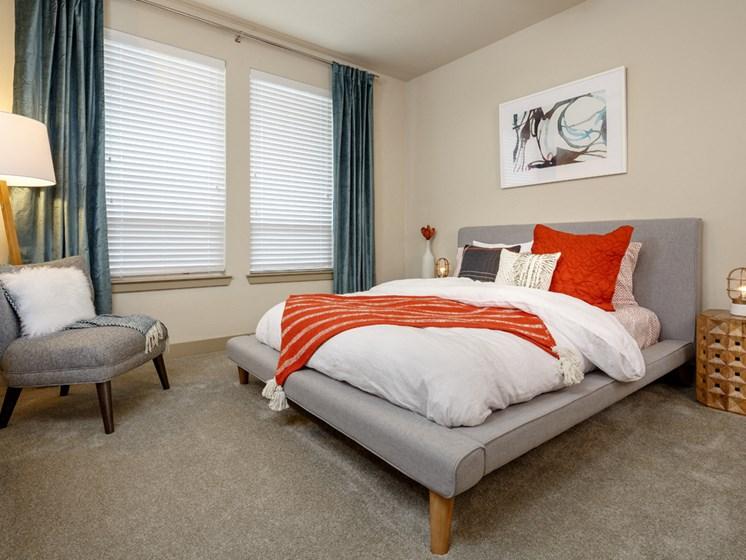 furnished apartment model bedroom