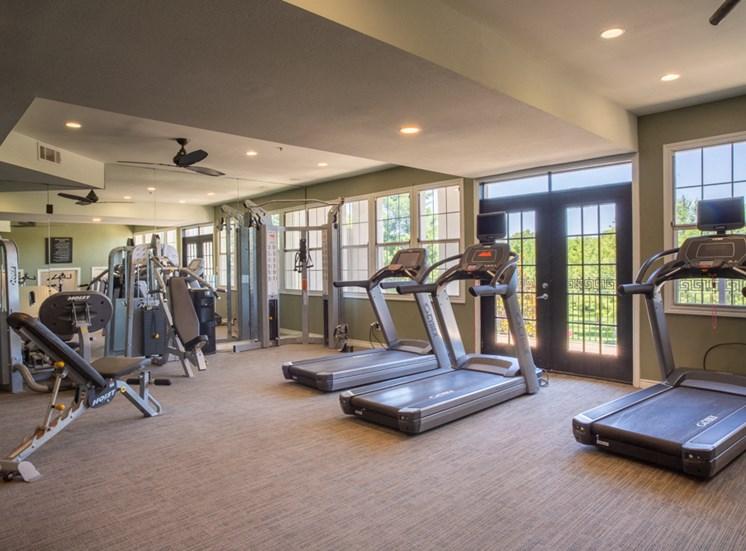 Community gym with treadmills