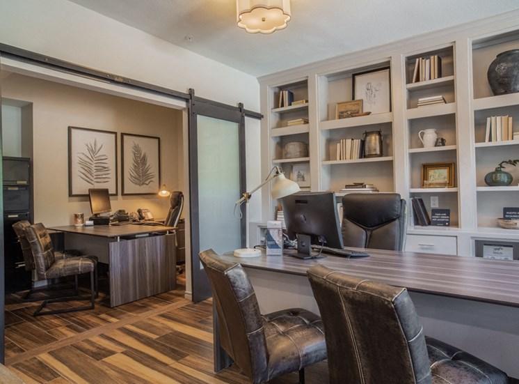 Leasing office desks with bookshelf
