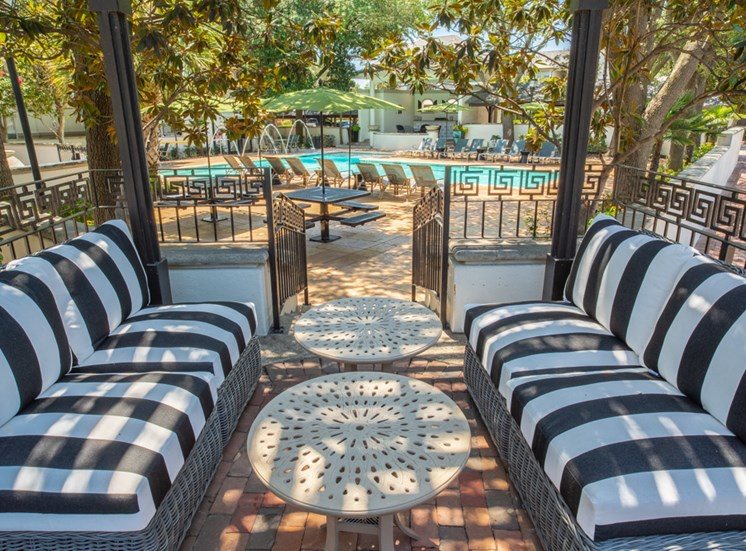 Outdoor shaded sitting area with tables