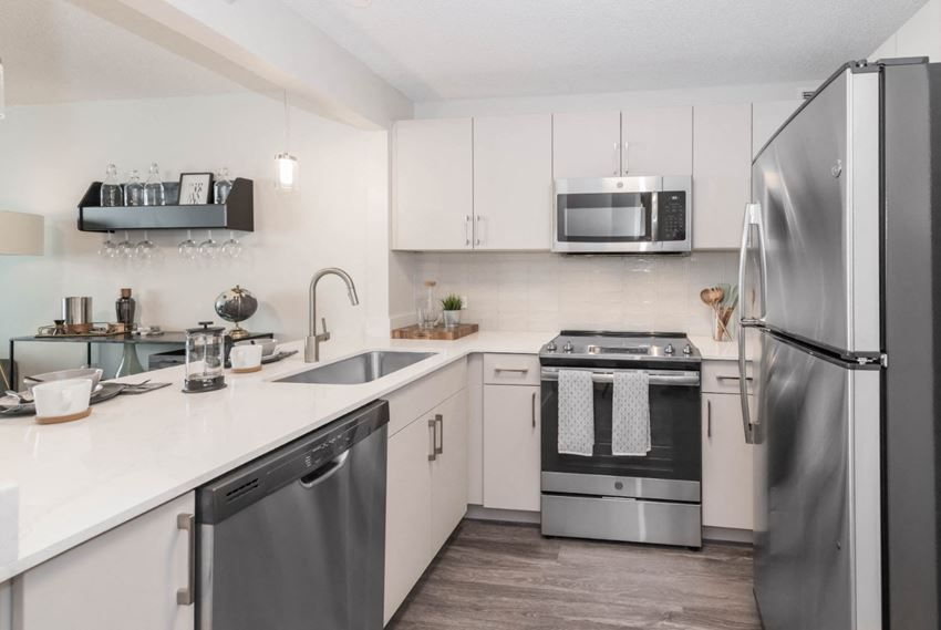 WHite cabinetry kitchen stainless steel appliances