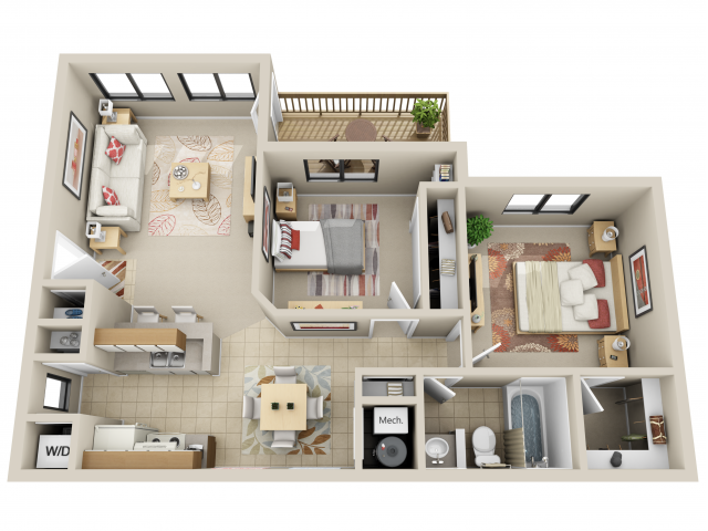 2 Bed 1 Bath Floor Plan 4