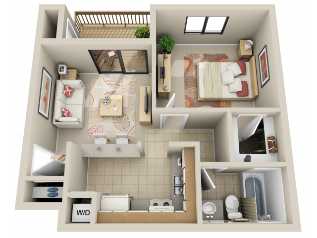 Junior 1 Bedroom Floor Plan 1