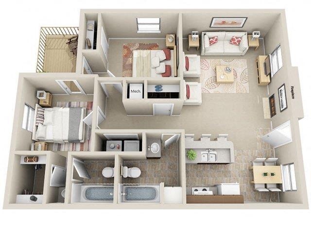 2 Bed / 2 Bath Floor Plan 4