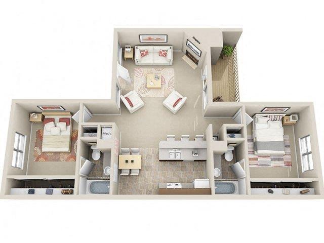 2 Bed / 2 Bath Floor Plan 5