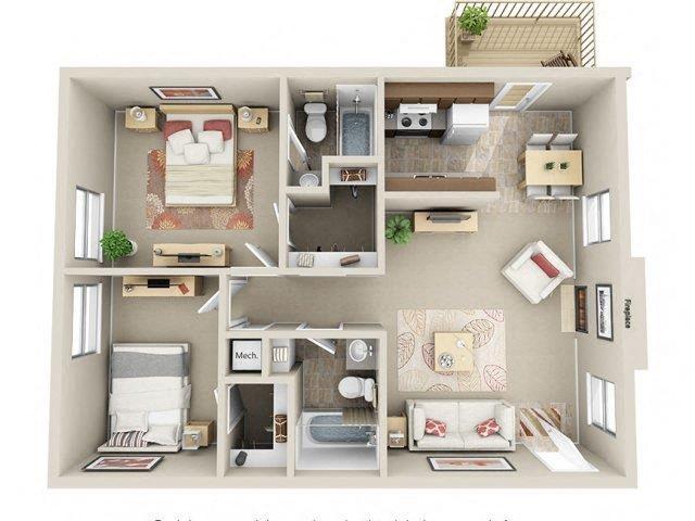 2 Bed / 2 Bath Floor Plan 3