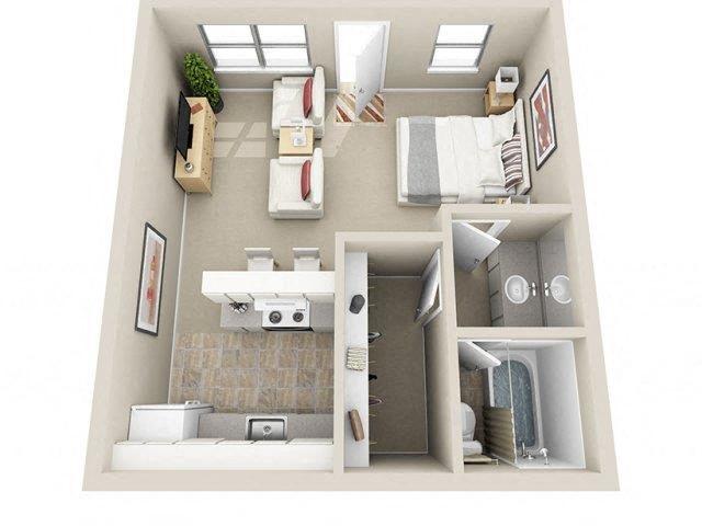 Studio / 1 Bath Floor Plan 1