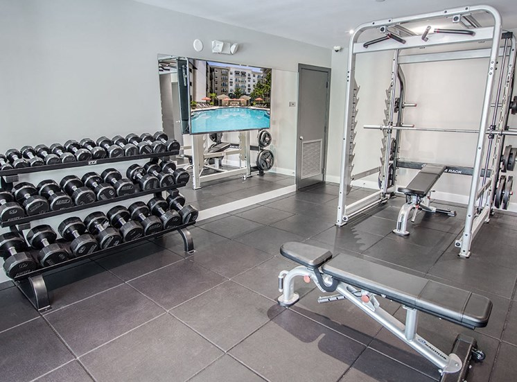 24-hour fitness center at Santorini apartments in Boynton Beach