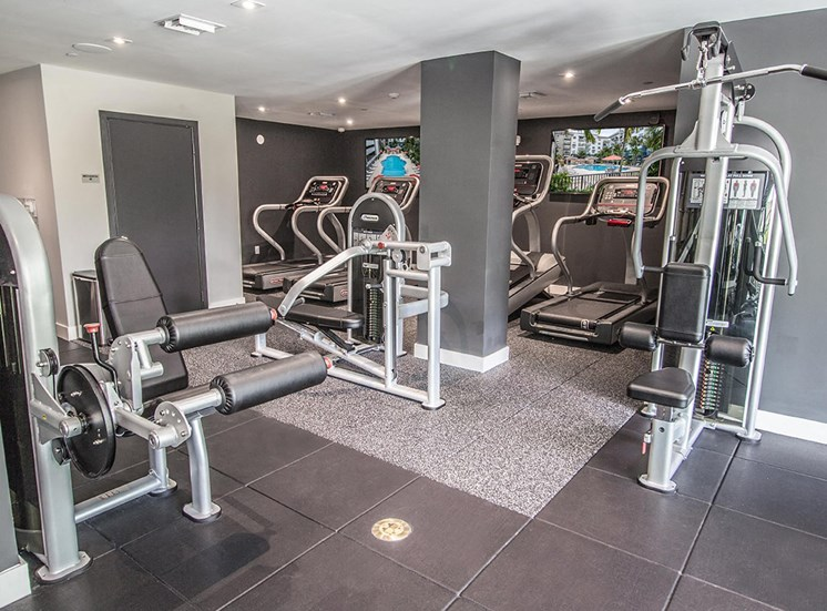 State-of-the-art fitness center at Santorini apartments in Florida