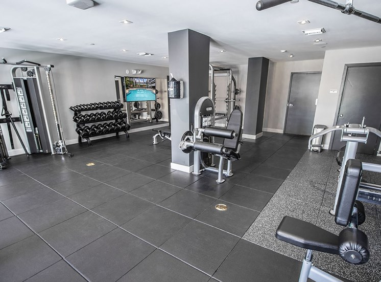 State-of-the-art fitness center at Santorini apartments near the beach