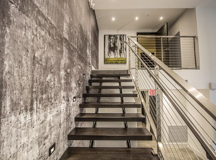 Santorini's apartment leasing center stairs