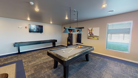 pool table, shuffle board, darts, game room, grand apartments