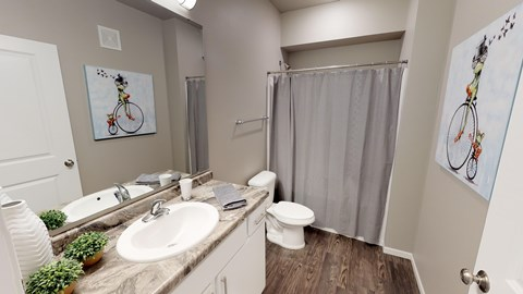 bathroom inside an fargo apartment