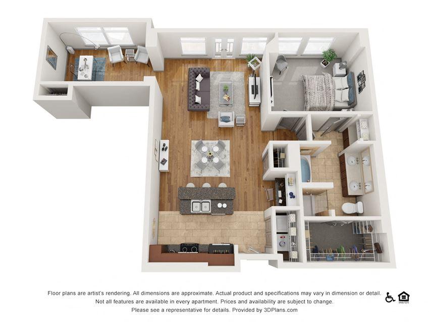 Ac Floor Plan at The Residence at SouthPark, Charlotte, North Carolina