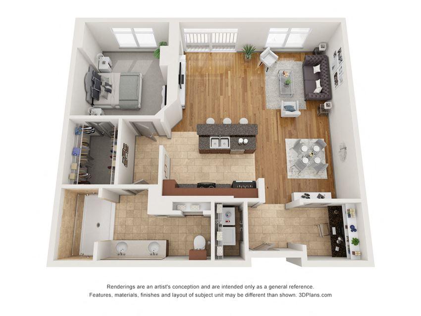 B Floor Plan at The Residence at SouthPark, North Carolina, 28211
