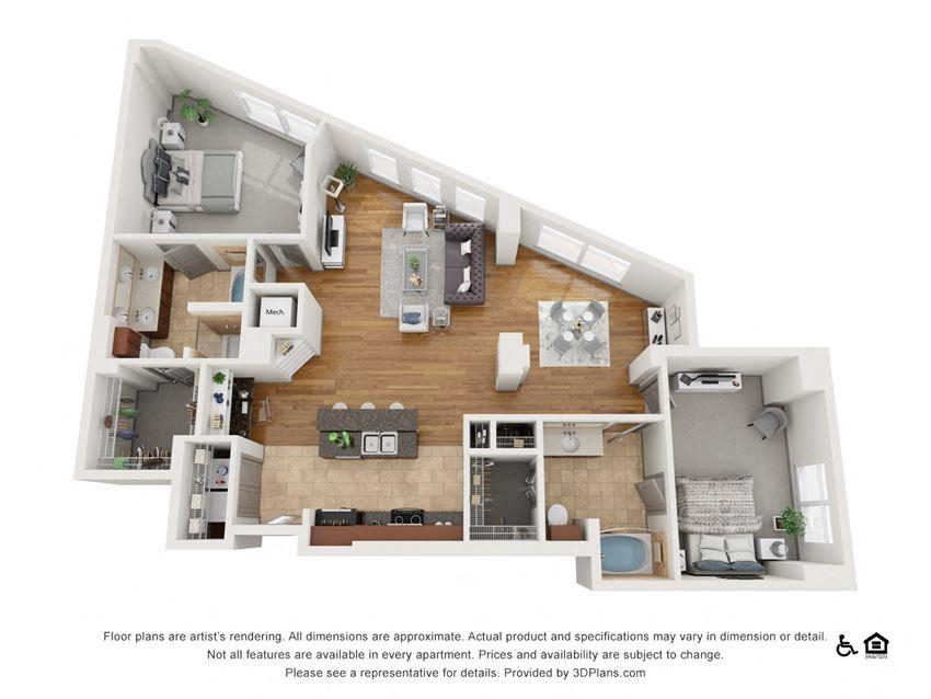 E Floor Plan at The Residence at SouthPark, Charlotte, North Carolina