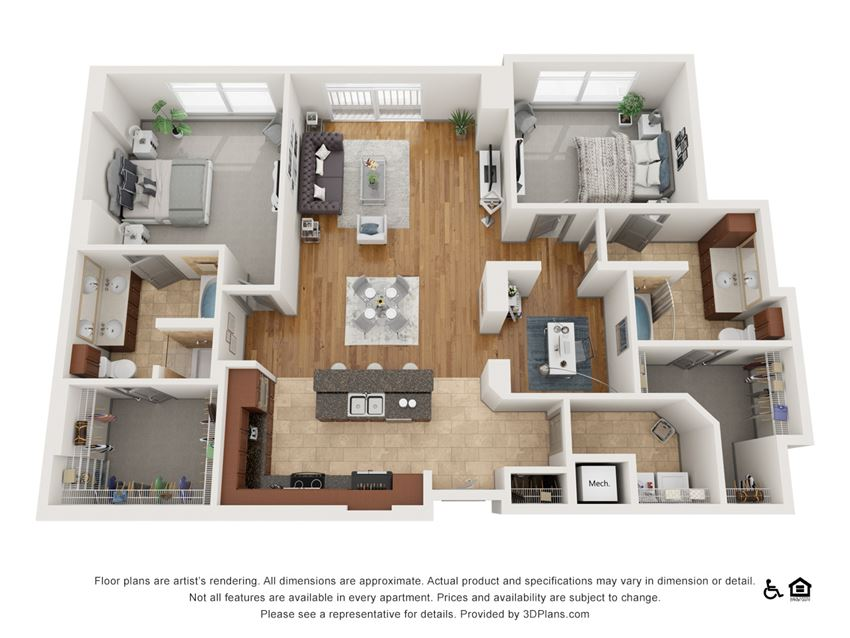 G Floor Plan at The Residence at SouthPark, Charlotte, NC, 28211