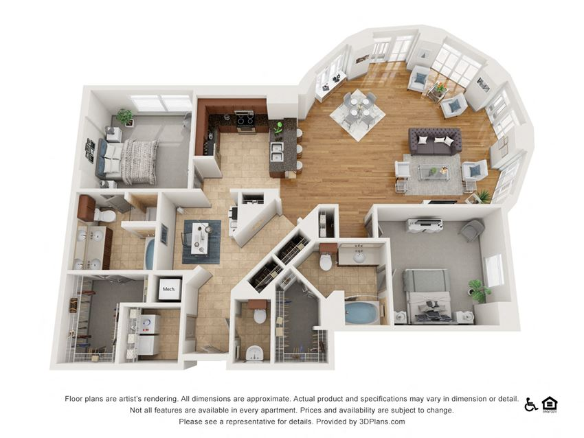 H Floor Plan at The Residence at SouthPark, Charlotte, NC