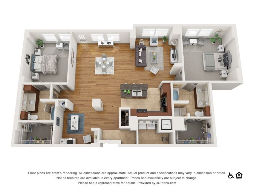 J Floor Plan at The Residence at SouthPark, Charlotte, 28211