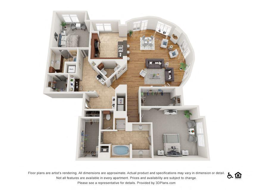 K Floor Plan at The Residence at SouthPark, Charlotte, North Carolina