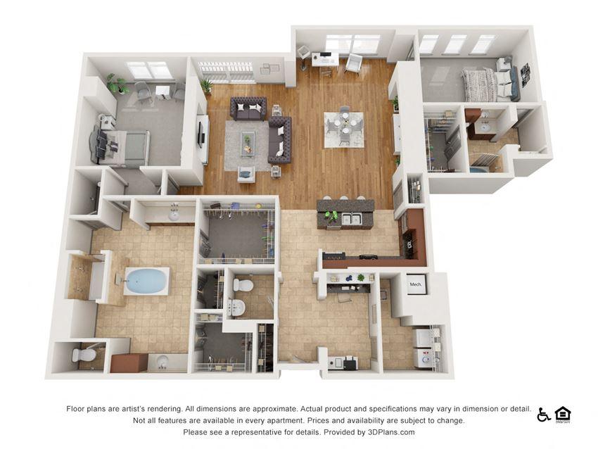 L Floor Plan at The Residence at SouthPark, North Carolina