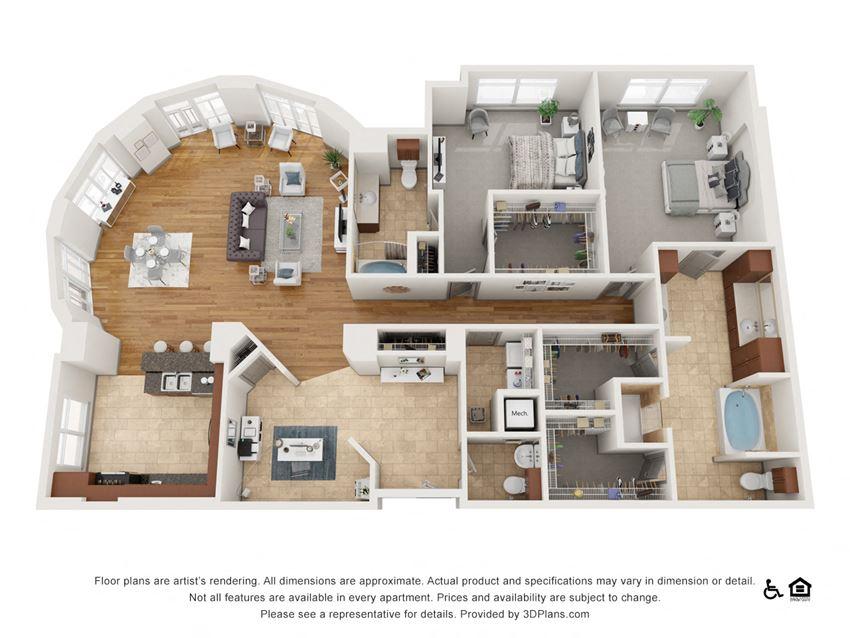 M Floor Plan at The Residence at SouthPark, North Carolina, 28211