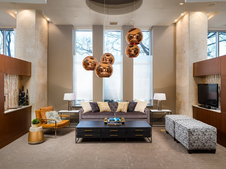 Lobby With Modern Decor at The Residence at South Park Apartments in Charlotte, North Carolina