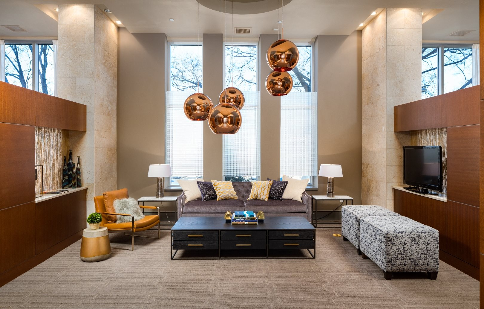 Lobby Seating Area at The Residence at South Park Apartments in Charlotte, North Carolina