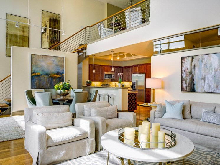 Penthouse Living Room at The Residence at South Park Apartments in Charlotte, North Carolina