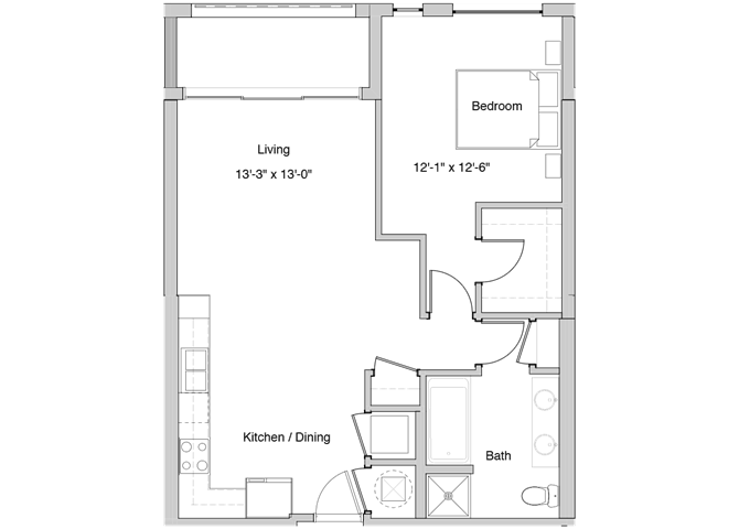 A38 Floor Plan at Grey House Apartments in Houston, Texas